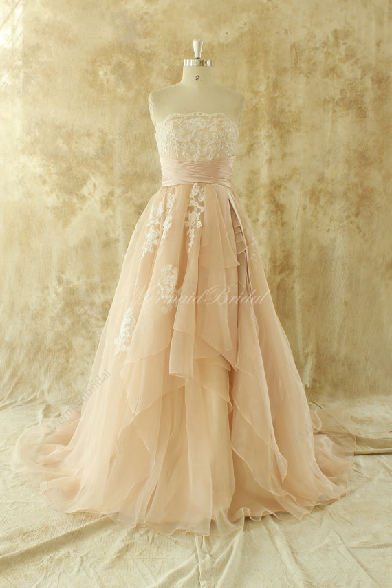Hey, I found this really awesome Etsy listing at https://www.etsy.com/listing/203556916/simple-blush-a-line-organza-lace-wedding