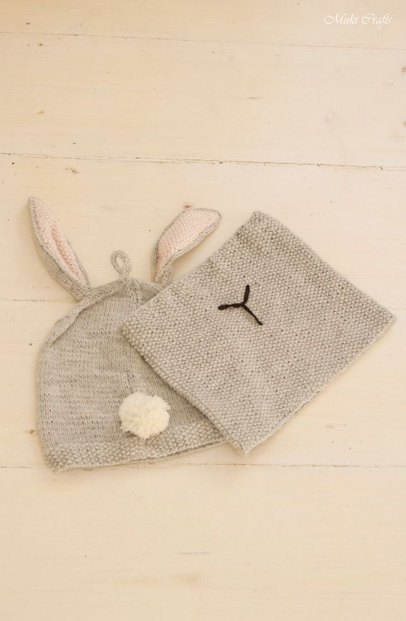 KNITTING PATTERN bunny hat and cowl set slouch Rabbit Gigi with pom ...