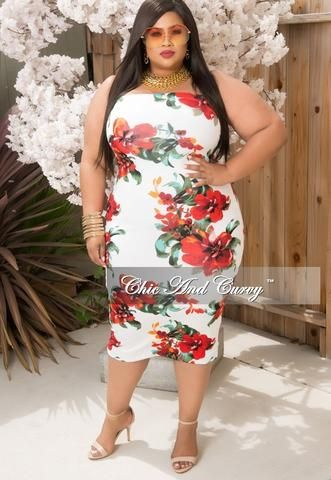 New Plus Size Strapless Bodycon Dress In Off White Red And Orange