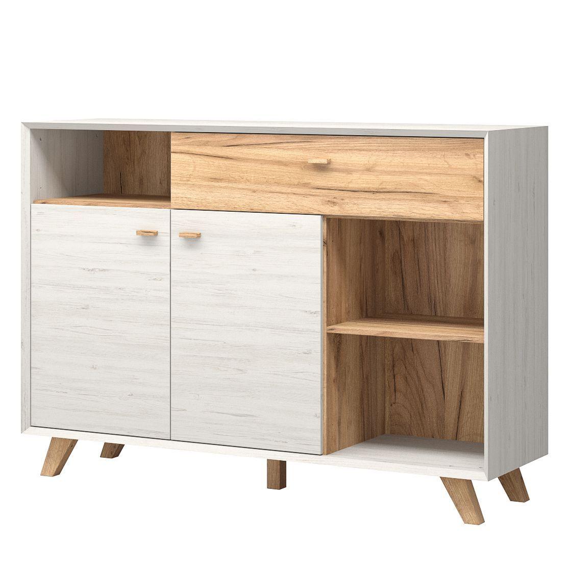 Morteens Möbel sideboard calvi iii pinie weiß dekor eiche navarra dekor