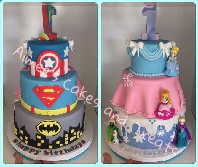 Sensational Back To Front Superheros And Princess Cake Princess Party Cake Funny Birthday Cards Online Aeocydamsfinfo