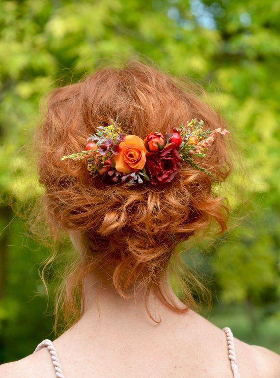 Floral bridal boho Woodland comb bridal Red wedding comb Flower hair comb Bride rose hair Hair comb flower Bridal rustic comb Red flower