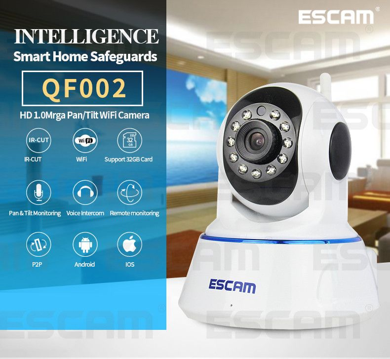 Escam 720P QF002 Indoor Network WIFI IP Camera infrared support P2P IR-Cut Smartphone H.264 Pan/Tilt PT Wireless MAX 32G TF Card  http://playertronics.com/products/escam-720p-qf002-indoor-network-wifi-ip-camera-infrared-support-p2p-ir-cut-smartphone-h-264-pantilt-pt-wireless-max-32g-tf-card/