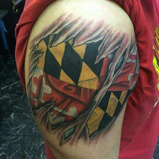 3d Skin Rip Maryland Flag Tattoo By Shady Smith Maryland Tattoo Flag Tattoo Tattoos
