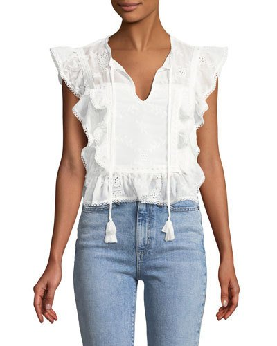 4892d7bf8a0332 Tularosa Cole Embroidered Ruffle Top White Ruffle Blouse