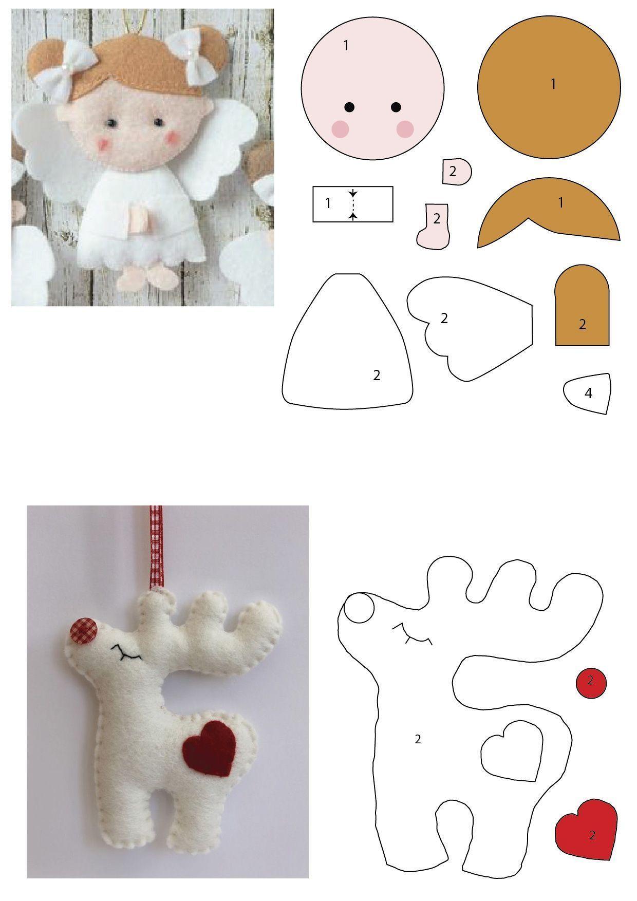 Ritinha Carneiro Artes Manuais Boa Noite A Todos Hoje Tem Moldes Para Quem Trabalha Felt Christmas Ornaments Felt Crafts Christmas Felt Christmas Decorations