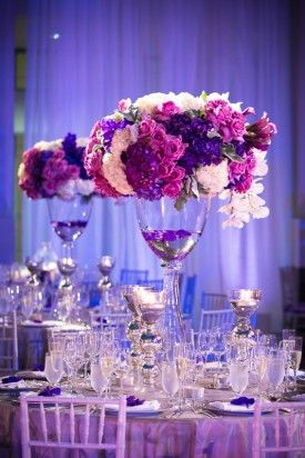Washington Dc Wedding Reception Tall Purple Centerpieces 2 275x412