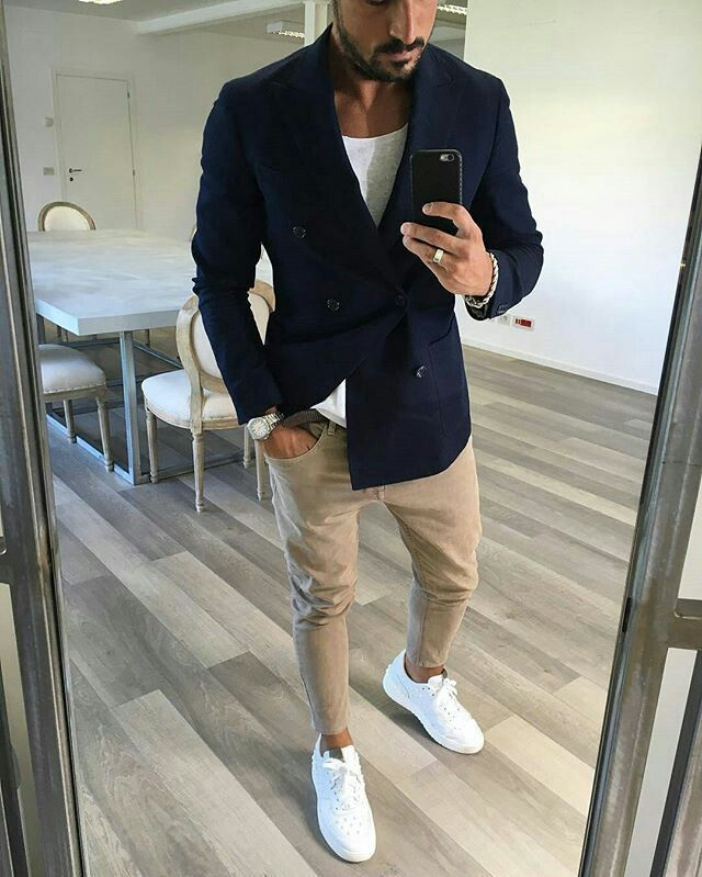 5326f85947d Black jacket Tan pants can t Go worng 👍 Mens White Sneakers