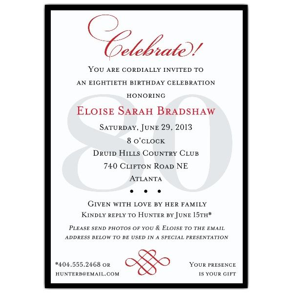 Classic 80th Birthday Celebrate Party Invitations Momu0027s 80th - best of birthday invitation adults