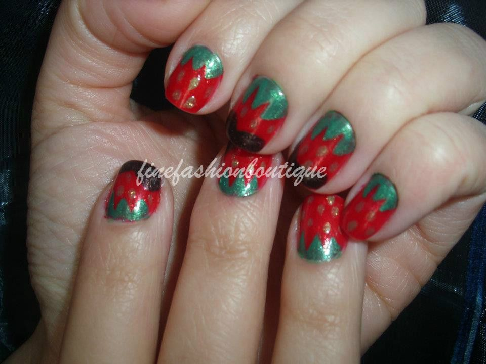 Strawberry And Chocolate Nails Nail Art Finefashionboutique