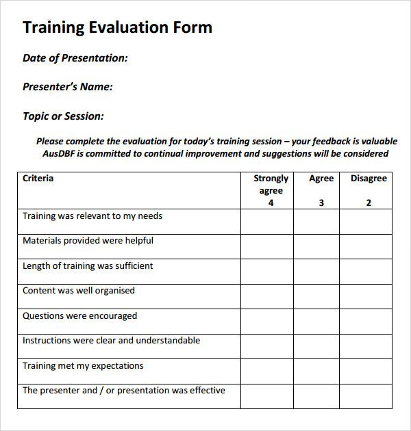 training evaluation form download free documents word pdf feedback - sample presentation evaluation