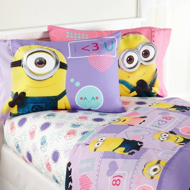 Despicable Me Bedding Set Girl Reversible Full Sheet Set & Twin/Full Comforter #Minions