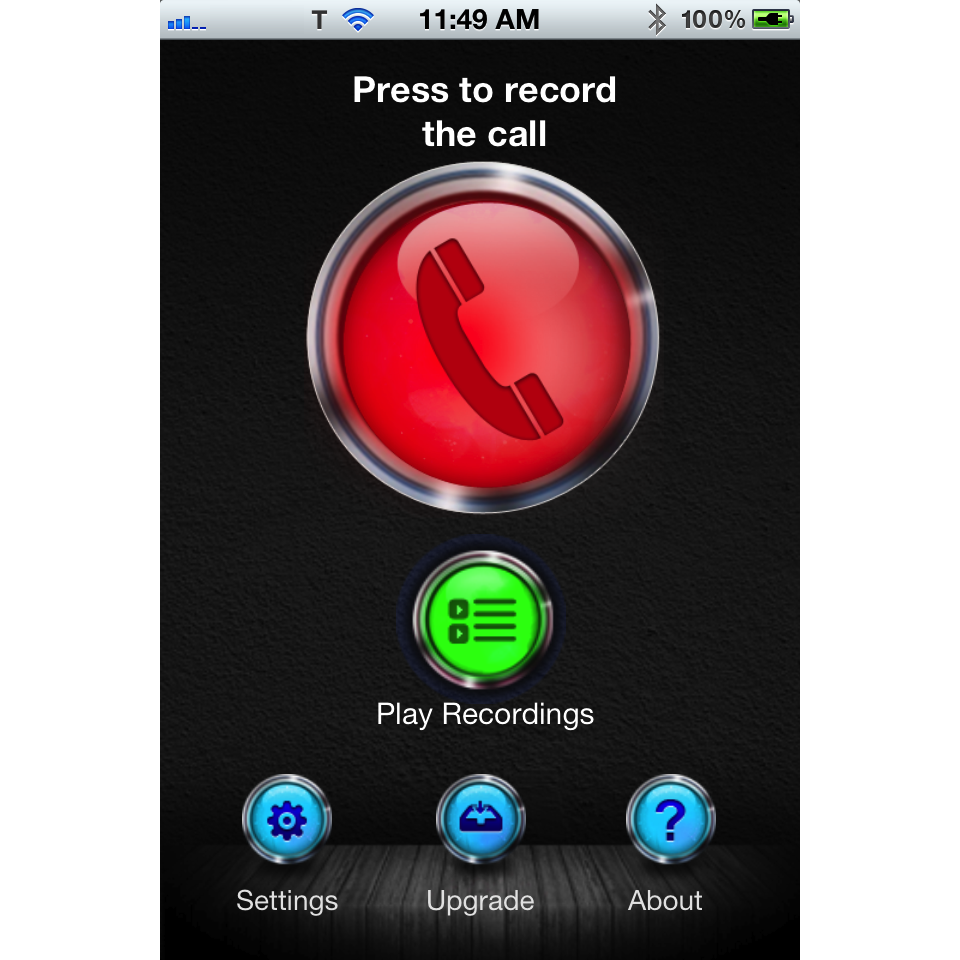 CallRec main screen. From here you can start recording a