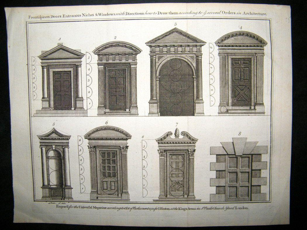 Architecture & antique architecture images | Architecture 1750 Antique Print. Doors ...
