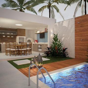 24 patios con piscinas que sin duda vas a querer para tu for Plantas para patios
