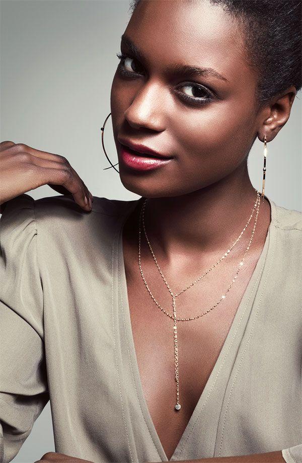 f1a9340c4bad2 Lana Jewelry 'Large Upside Down' Black Diamond Hoop Earrings ...