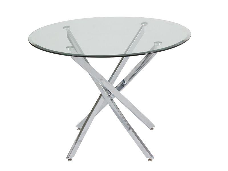 Mesa de Comedor redonda en metal y cristal en Demarques.es   Mesas ...