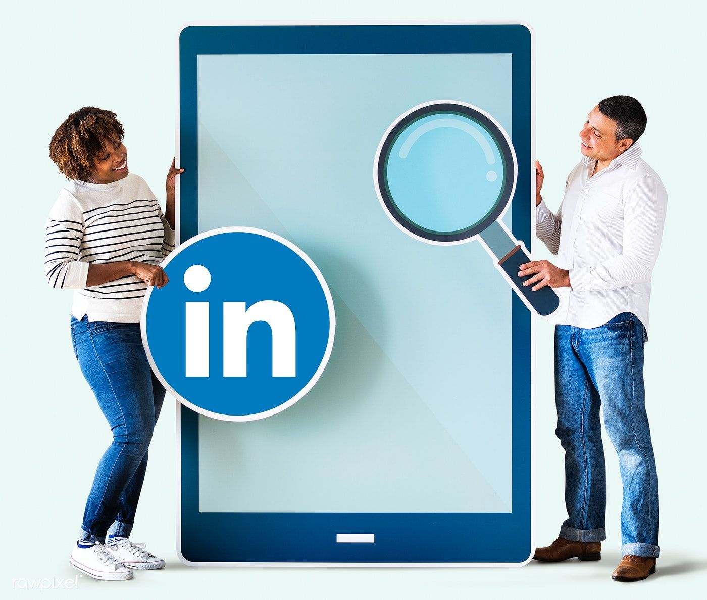 People holding a Linkedin icon and a tablet free image