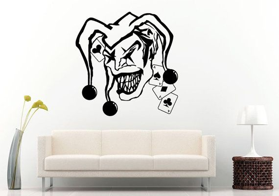 Joker Funny Man Hat With Bells Playing Cards Ace Why So Serious Wall Decal Vinyl Sticker Mural Room Decor L1045