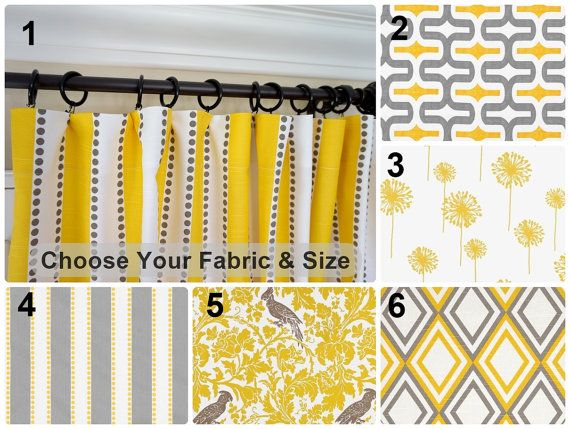 deux rideaux jaune jaune gris fen tre traitements rideaux. Black Bedroom Furniture Sets. Home Design Ideas