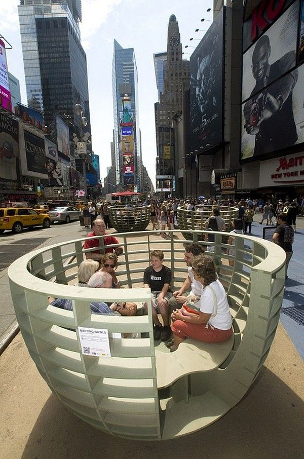 Street Furniture For Spontaneous Interactions Meeting Bowls In Times Square Nyc Street Furniture Urban Design Urban Furniture