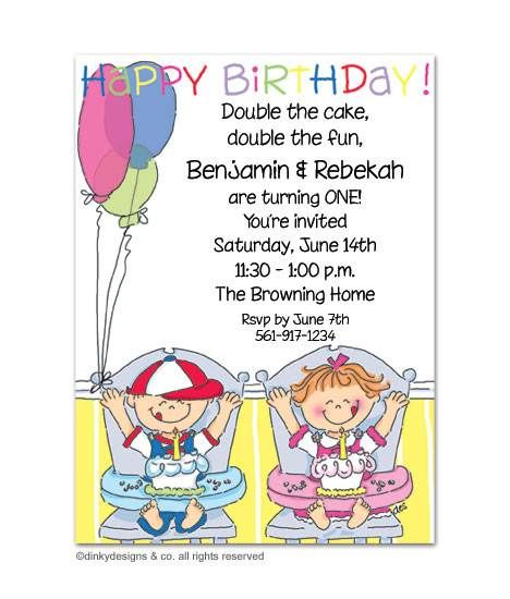 Twins Boy Girl Birthday Party Invitation With Images 1st