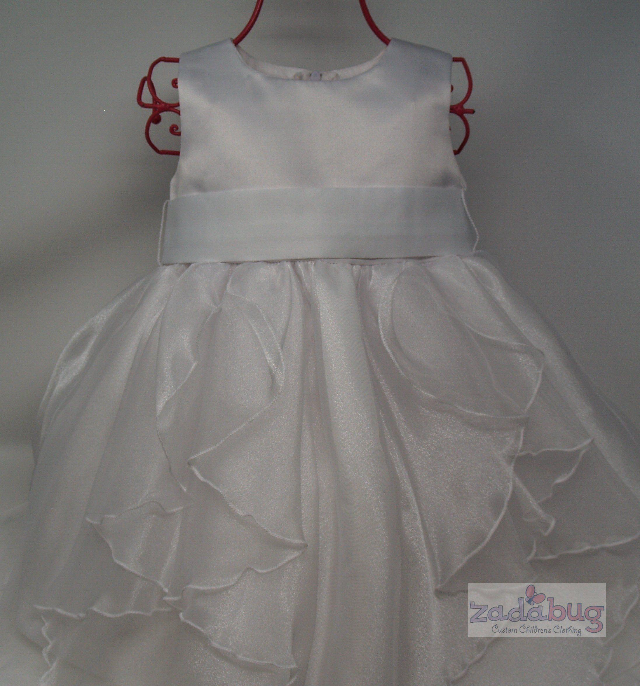 c68c75eebfef9 Toddler Girl White Satin With Crystal Organza and White Satin Bow-Girl s  White Organza Dress
