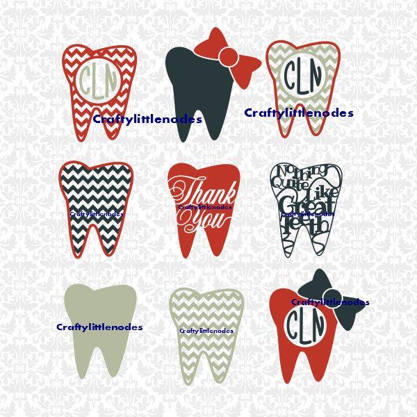 Teeth Monogram Chevron Bow Thank You Dentist Dental Hygienist Nothing Like Great Teeth Svg Studio Ai Eps Instant Dow Chevron Bow Monogram Bow Monogram Stickers