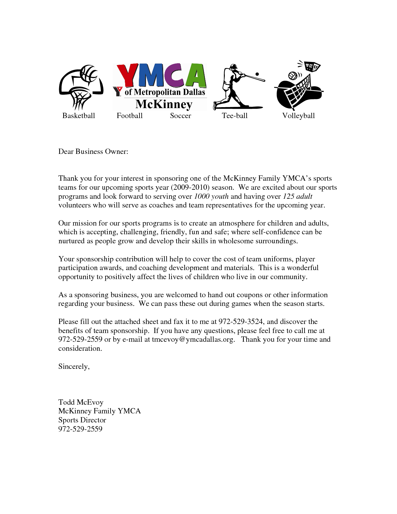 Letters For Sports Teams Youth Sponsorship Letter Team Template