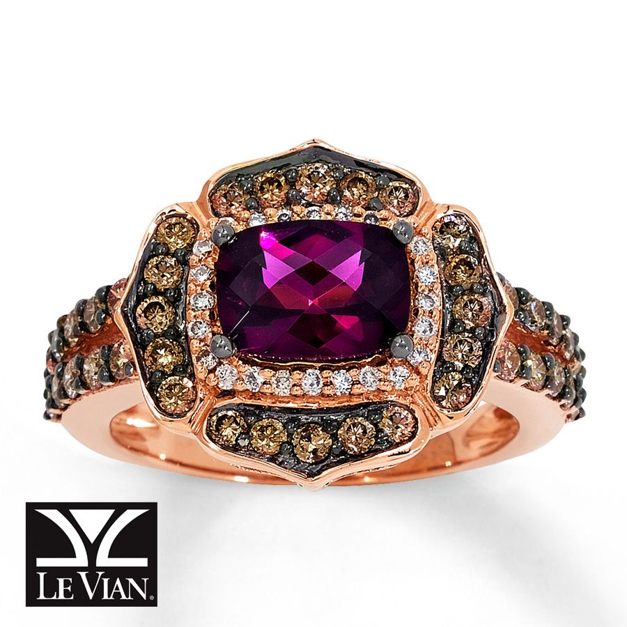Jared CushionCut Garnet Ring 78 ct tw Diamonds 14K Gold Jewel