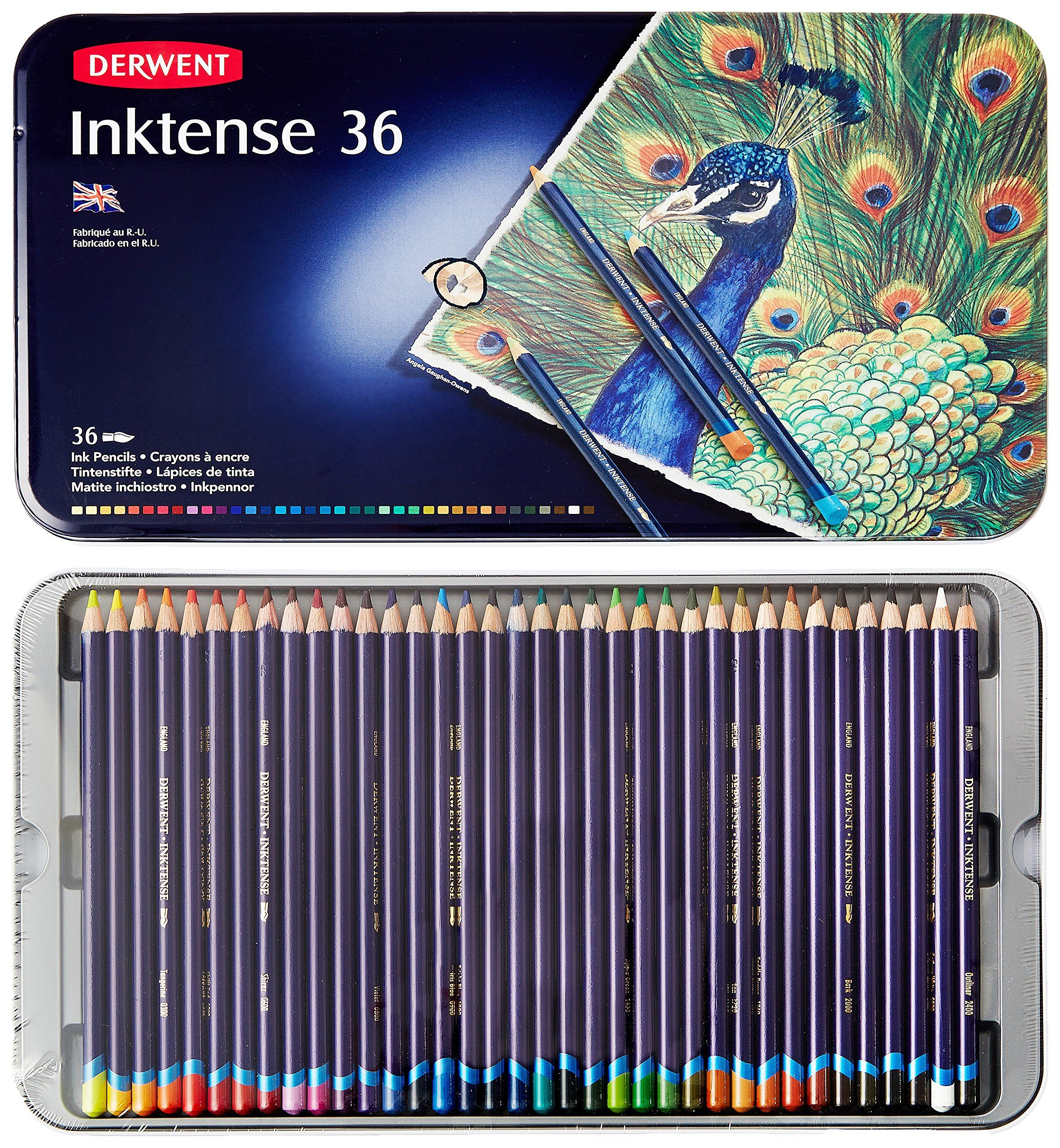 Derwent Drawing Pencils Inktense 4mm Core Metal Tin Watercolor