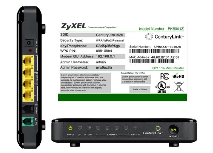Using your ZyXEL PK5001Z CenturyLink Help