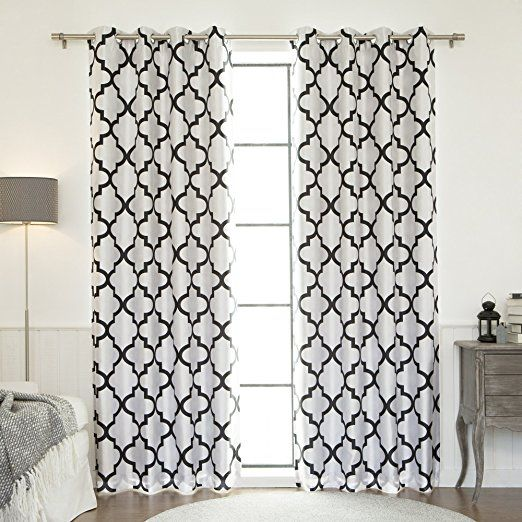 "Best Home Fashion Reverse Moroccan Faux Silk Blackout Curtain – Stainless Steel Nickel Grommet Top - Black - 52""W X 84""L - (1 Panel)"