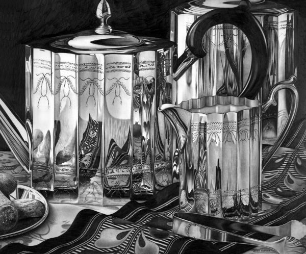 Silver Teapots Drawing by Jerry Winick