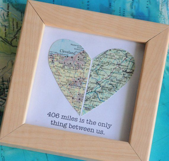 Long Distance Relationship Boyfriend Gift Map Heart Framed With Text