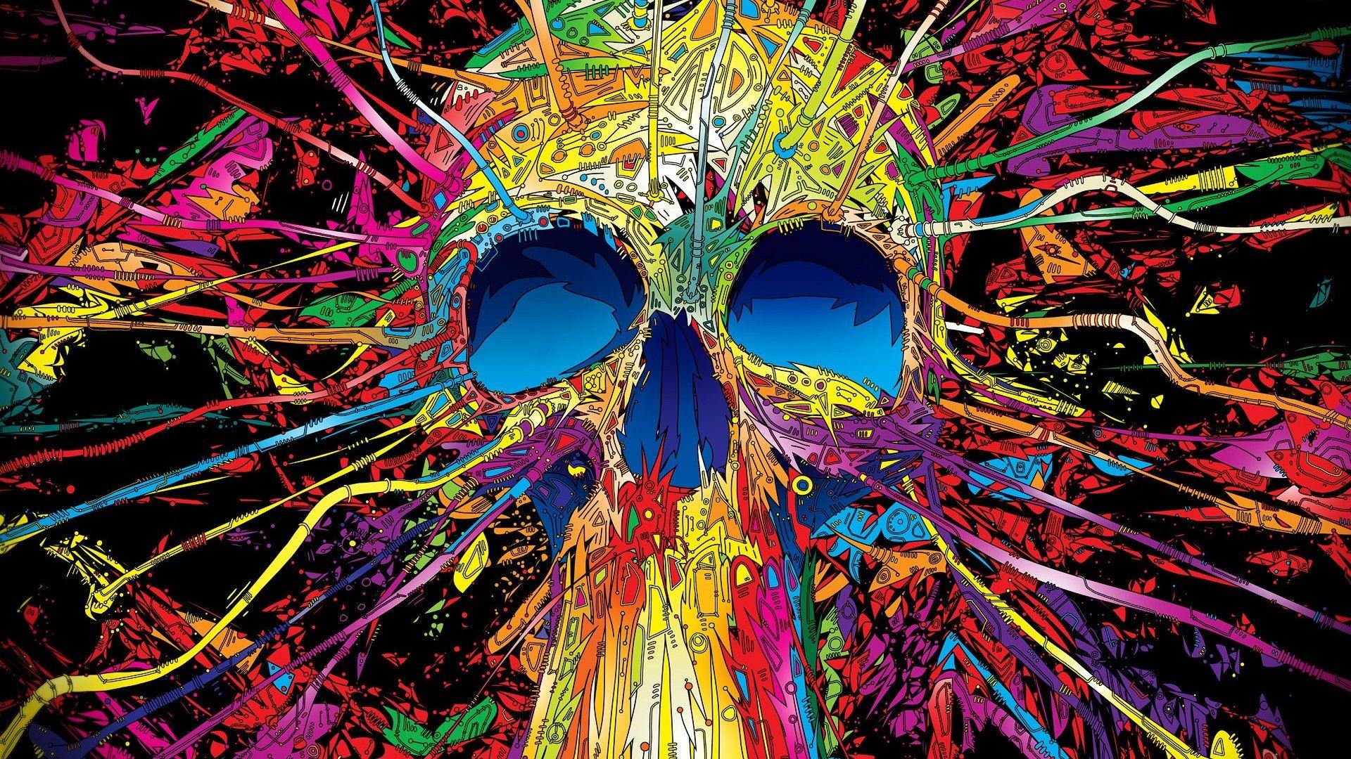 Trippy Desktop Backgrounds Hd Skull Wallpaper Skull Art Psychedelic Art