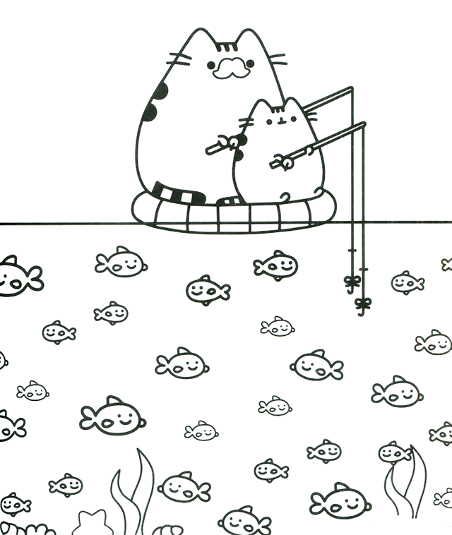 Oh So Cute Kitty Pusheen The Cat Coloring Pages For Girls Nyan
