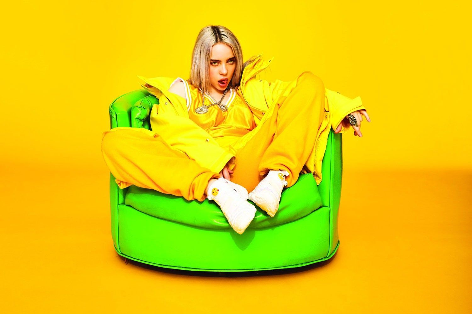 Billie Eilish Sitting In A Yellow Room In A Beautiful Yellow
