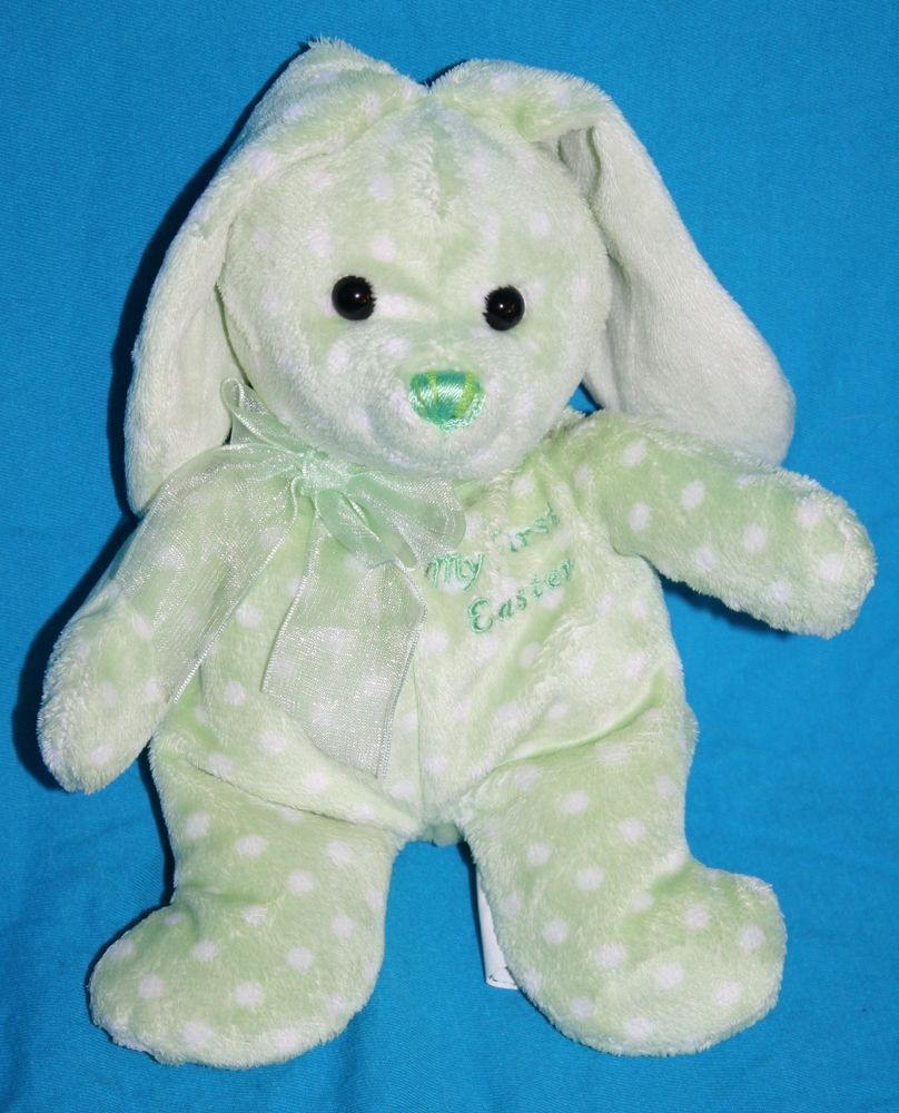 Walmart My First Easter Bunny Green White Polka Dots Stuffed Animal