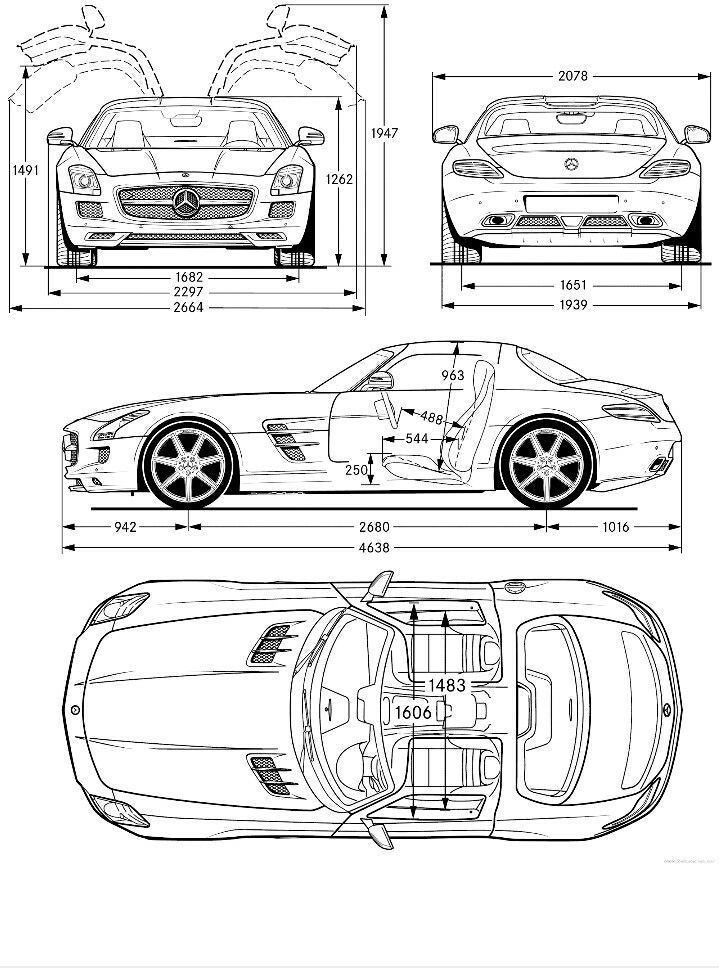 The Orthographic of Mercedes Benz SLS AMG 2011 / Satria