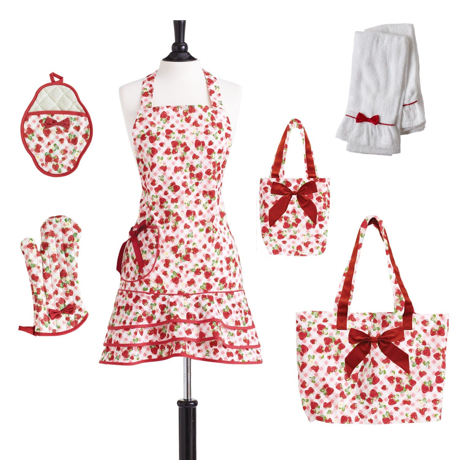 images of strawberry aprons | Strawberry Gingham Apron Collection • Jessie Steele
