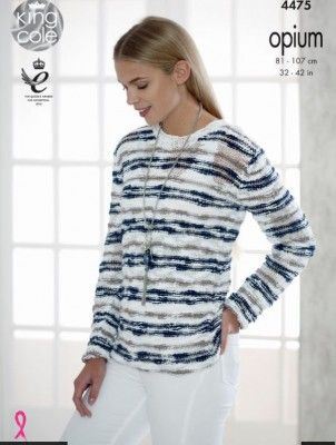 King Cole Womens Opium Knitting Pattern Ladies Cardigan /& Striped Sweater 4475