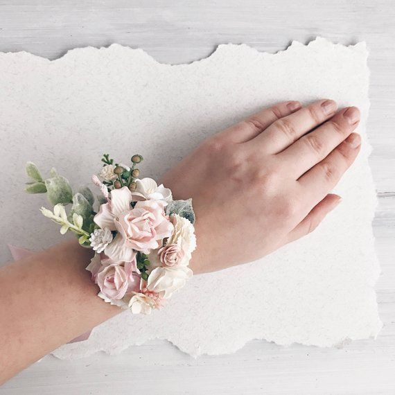 Blush pink Flower wrist corsage, rose quartz Bridal bracelet, bridesmaids corsage, bridal wrist corsage, weddings is part of Corsage wedding - SERENlTY  SHIPPING INFO  For domestic (Russia) orders Your lovely package will arrive in about 10 business days