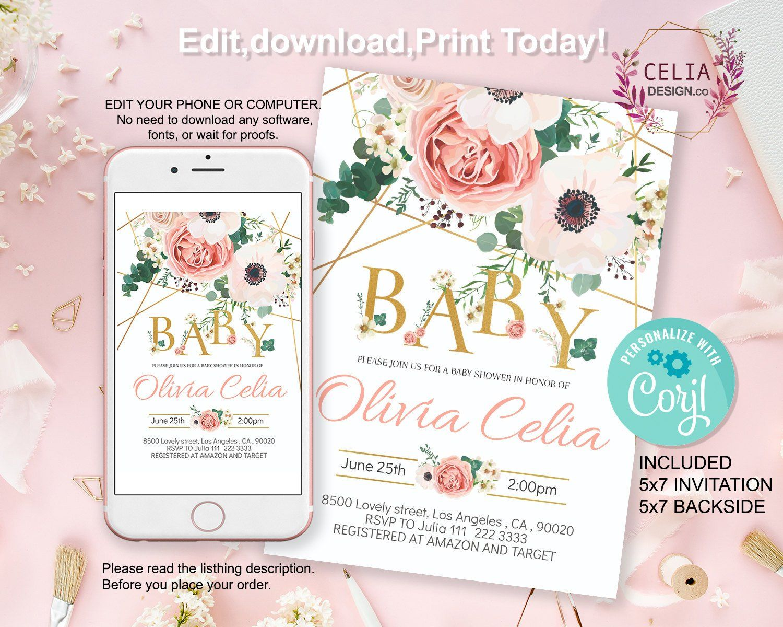 Hello Guys It S New Celiadesignco New Invitation Design I W Printable Baby Shower Invitations Floral Baby Shower Invitations Baby Shower Invitation Templates