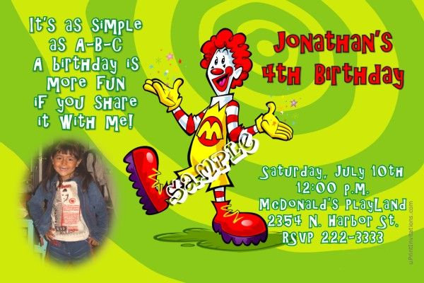 McDonalds Birthday Invitations Get these invitations RIGHT NOW - create invitations online free no download