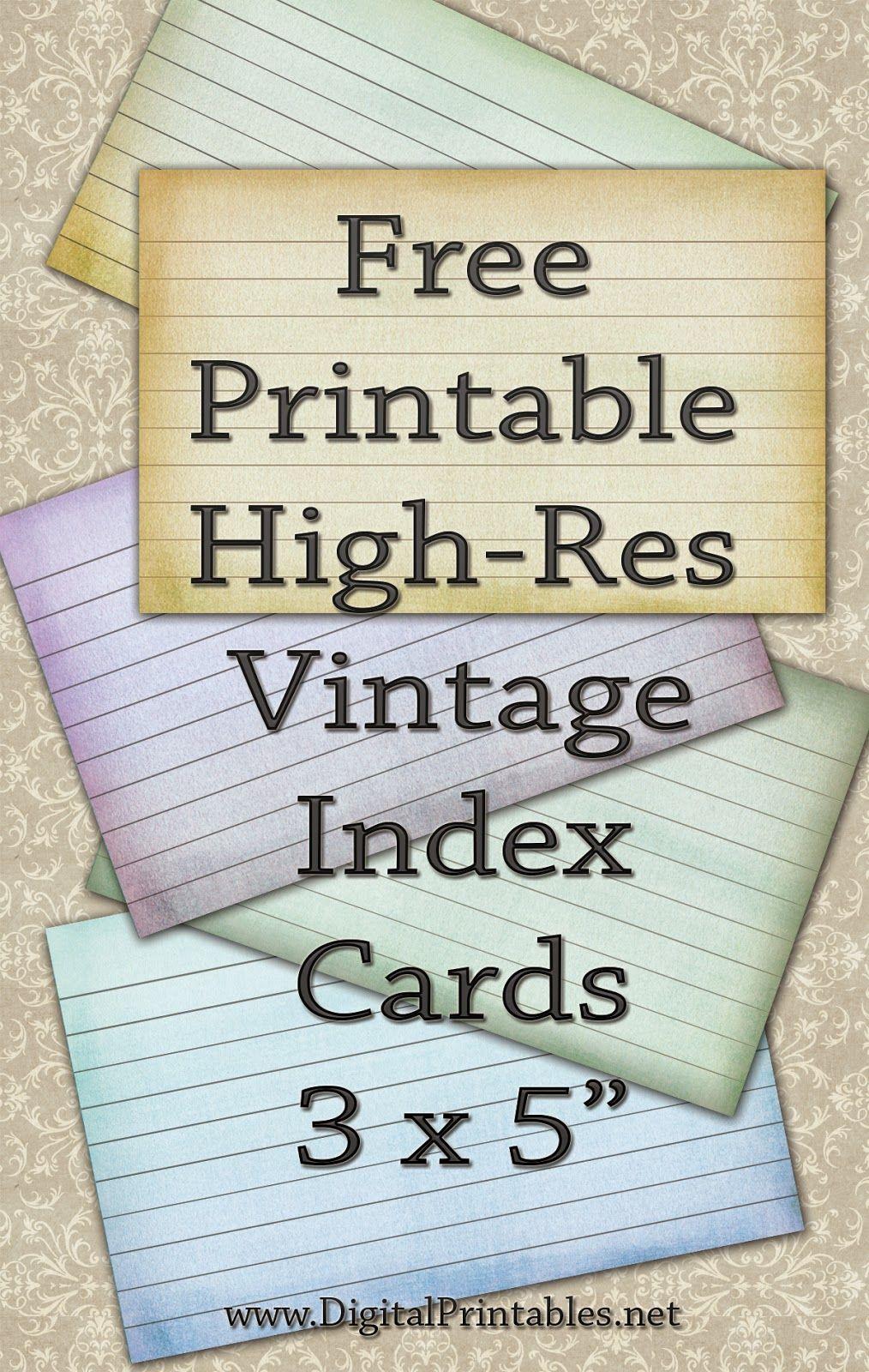 Free Printable Index Cards Vintage Look High Res Templates Printable Free Card Templates Printable Flash Card Template