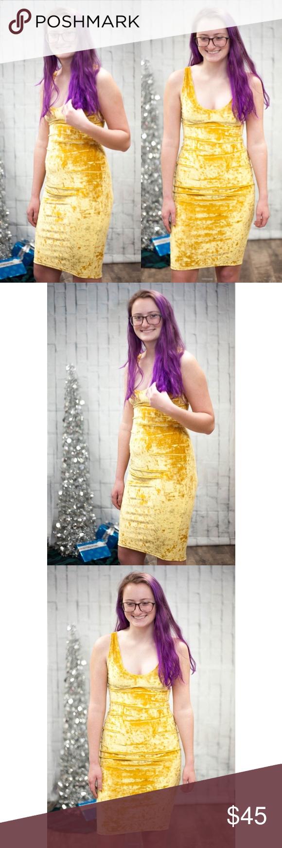 Gold crushed velvet midi dress crushed velvet babes v neck but