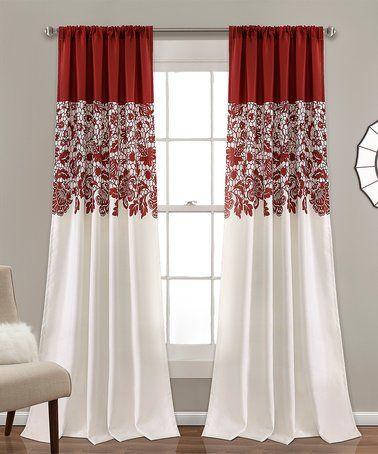 Red Floral Room Darkening Curtain Panel