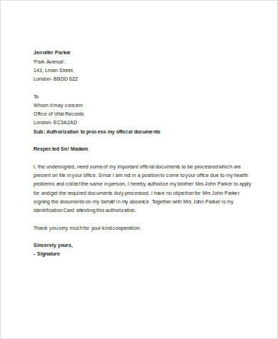 authorization letter for processing documents samples amp - letter of authorization letter
