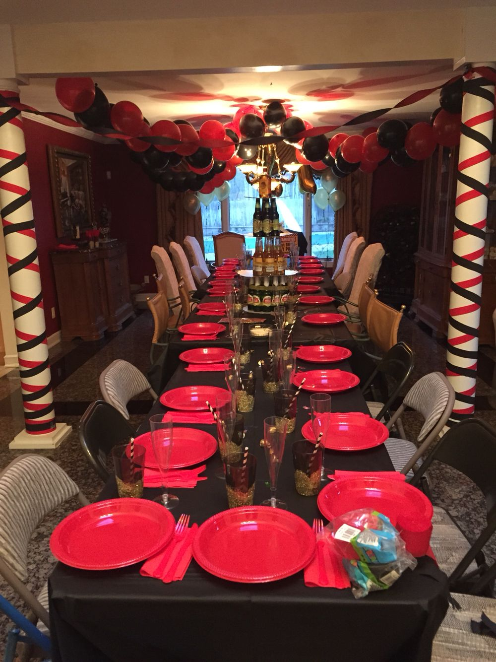 Surprise 21st Birthday Party For My Boyfriend 21 Boys Men Male CheersAndBeers Birthdayparty Red Black Gold Decorations